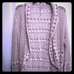 Free People Crochet Duster Cardigan S Beige